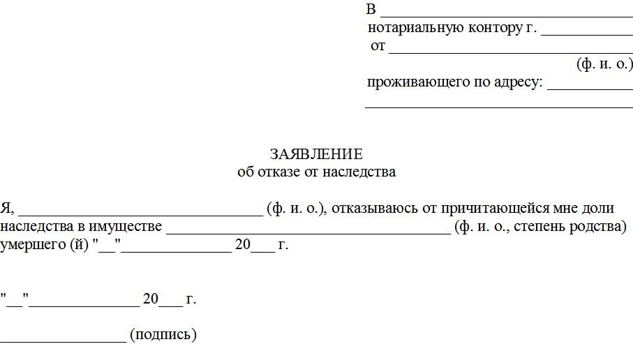 Образец заявления от отказе от наследства последние файлы.
